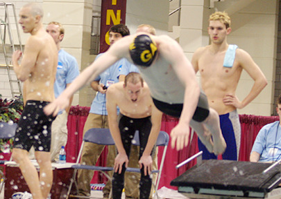 Ben Hanson explodes off the platform to begin the anchor leg of the 800 freestyle relay.