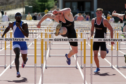 Tanner Miest (center) took the 110-meter hurdles title, while Tyler Geyen (right) finished third.