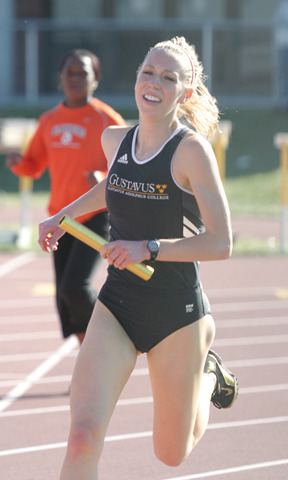 Senior Kourtney Joyce, shown here during a leg of the 4x800-meter relay, won the 3000-meter steeplechase.