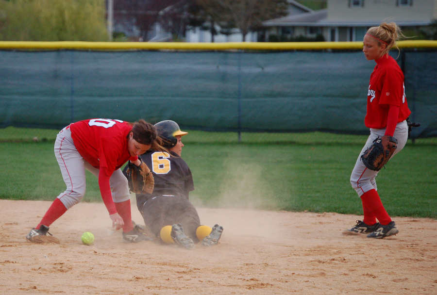 Emily Klein slides safely into second base.