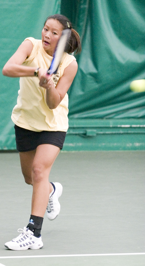 Lauren Hom did not give up a game in doubles or singles play against the Royals.