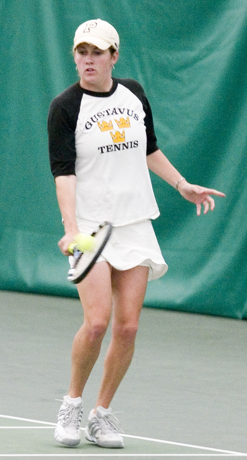Senior Lyndsey Palen uses her backhand against the Knights.
