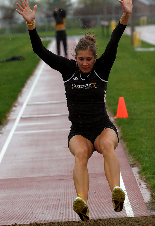 Lindsey TeBrake makes her landing during the triple jump.