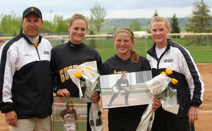 Celebrating senior day - (l to r): Jeff Annis, Mary Furlong, Audrey Lenoch, Sally Obernolte