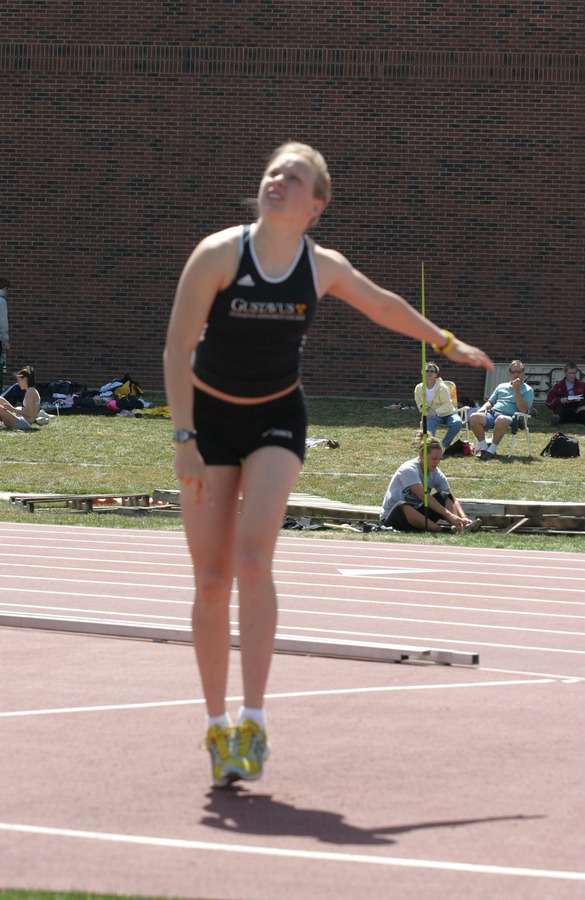 Brown, a first-year became the second Gustavus woman to win a NCAA individual title with her surprise win in the javelin.