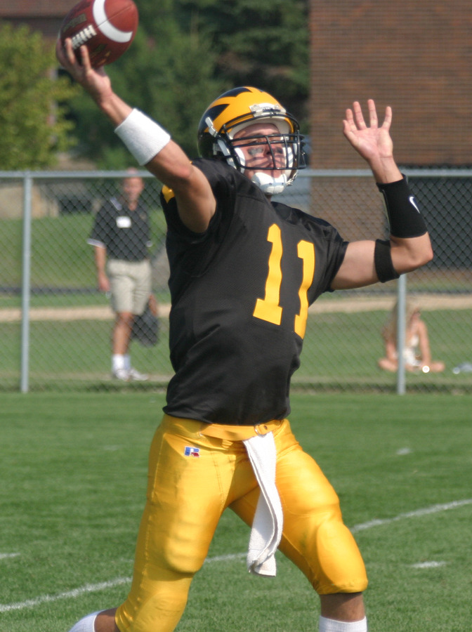 Junior quarterback Jordan Stolp moved into fourth place on Gustavus' career passing yardage list, passing Dean Kraus.