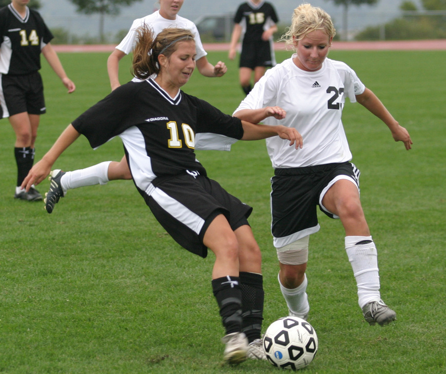 First-year Becca Hagen (left) scored the lone goal in Saturday's 1-0 road win over the College of Saint Benedict.