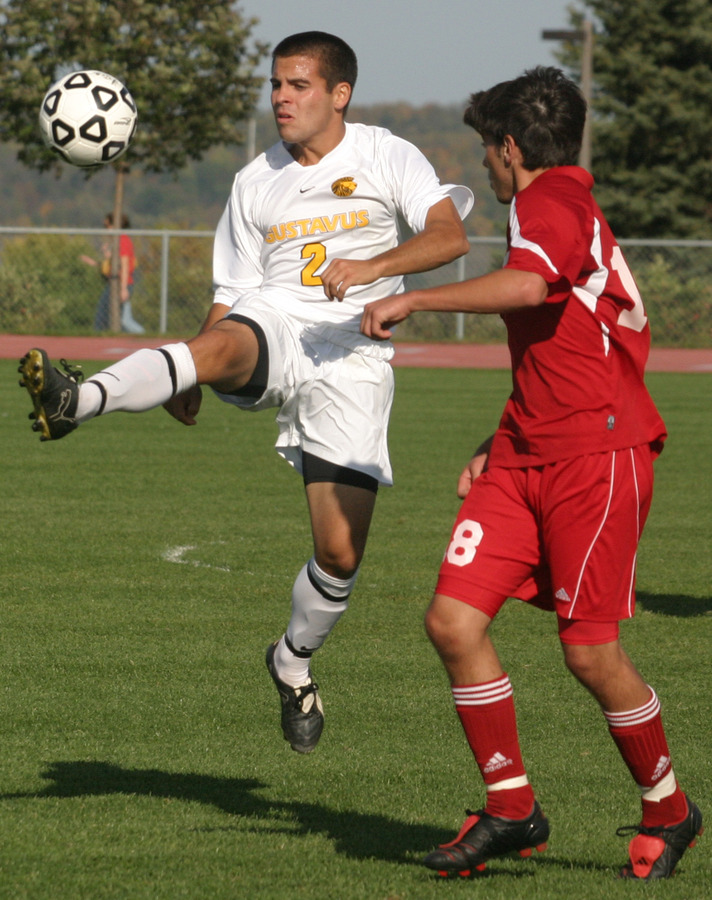 Forward Dan Suchy looks to control the ball for the Gusties.