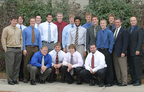 Seventeen senior football players (pictured with Coach Schoenebeck) will play at home for the final time Saturday.