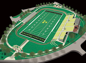 Architectural rendering of the football complex under construction at Gustavus.