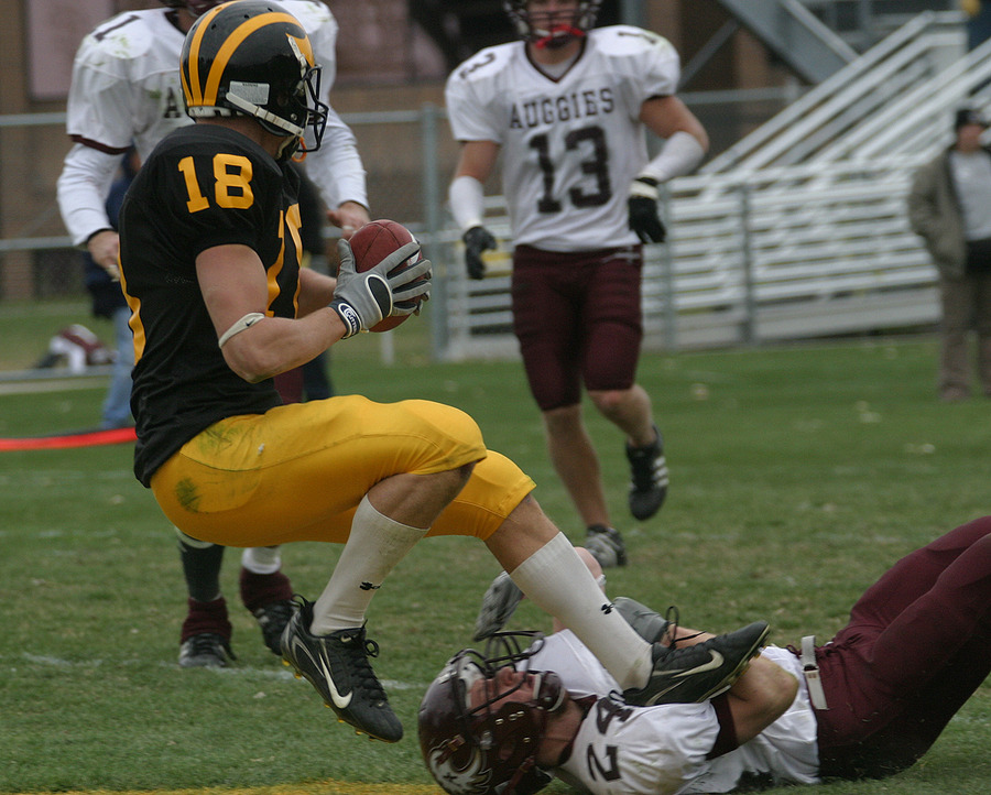 Tom Johnson made this touchdown catch with 3:22 to play to put the game out of reach.
