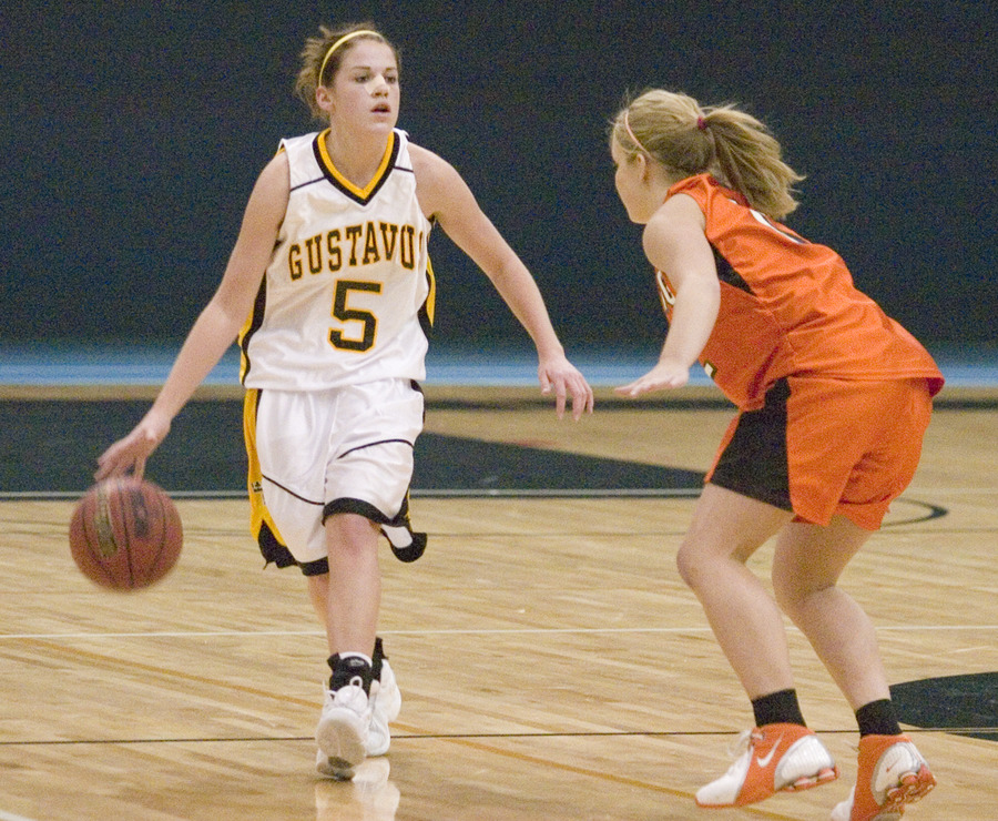 Brianna Radtke handles the ball on the point.