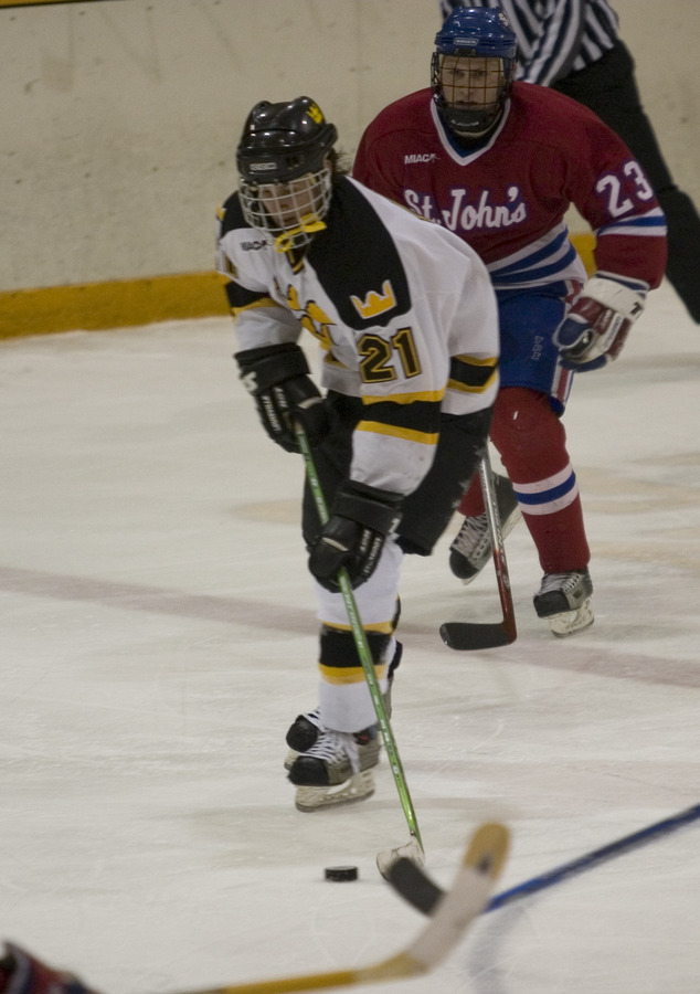 Hosfield handles the puck against St. John's