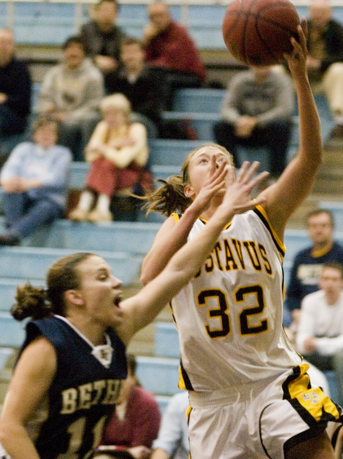 Kenzie Consoer goes up strong to score for the Gusties.