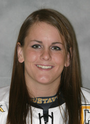 Andrea Peterson registered assists on each of Gustavus' first three goals.