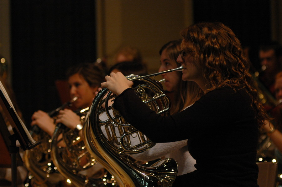Senior Kate Ellingsen leads the Gustavus Wind Orchestra's horn section.