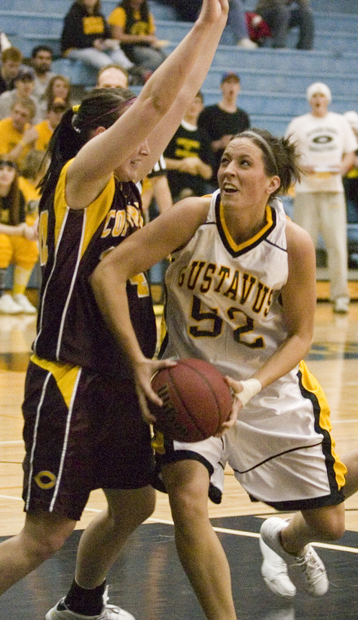 Bri Monahan record a double-double for Gustavus (19 points, 10 rebounds).