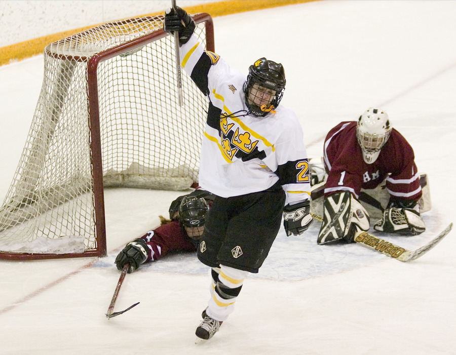 Molly Doyle celebrates after scoring a power-play goal.