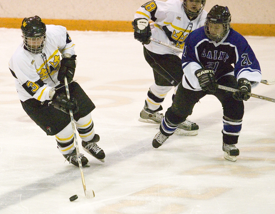 Stefanie Ubl skates the puck up the ice for Gustavus.