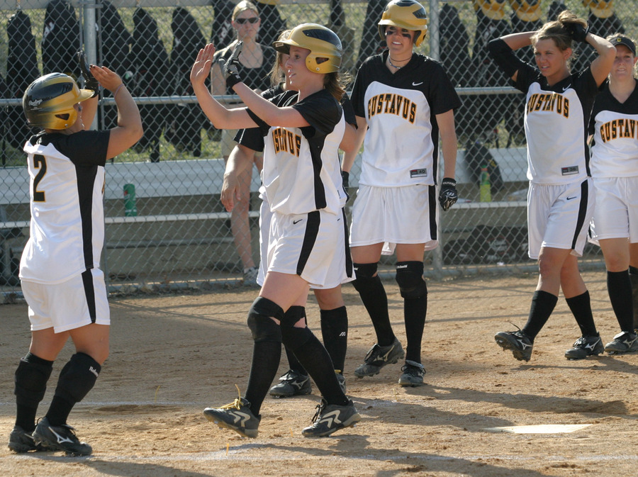 Gusties celebrate Mahre's record breaking home run in the third inning of game one.