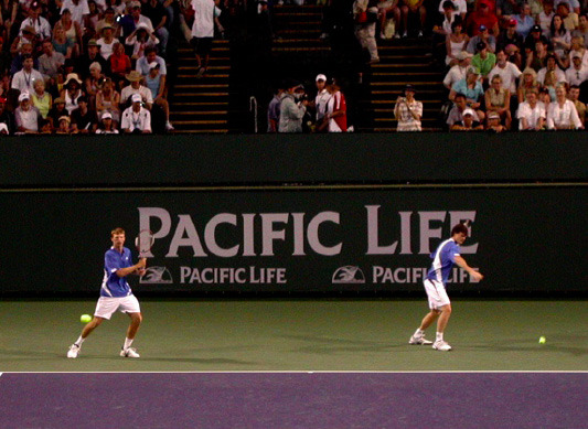 Butorac (left) and Jamie Murray warm up before a tournament in Indian Wells, Calif.