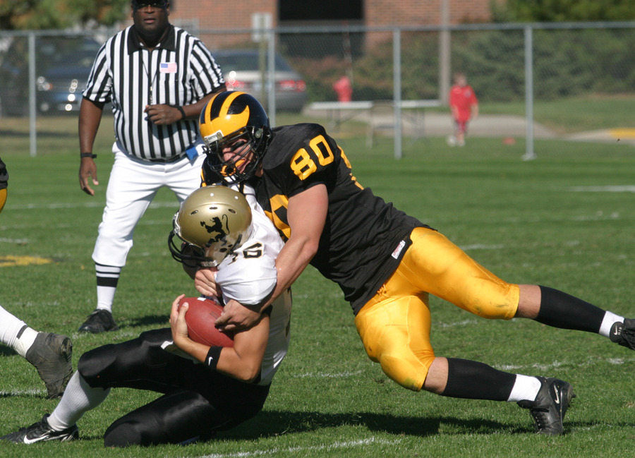 Senior end Patrick Riordan will help lead a young Gustie defensive unit.