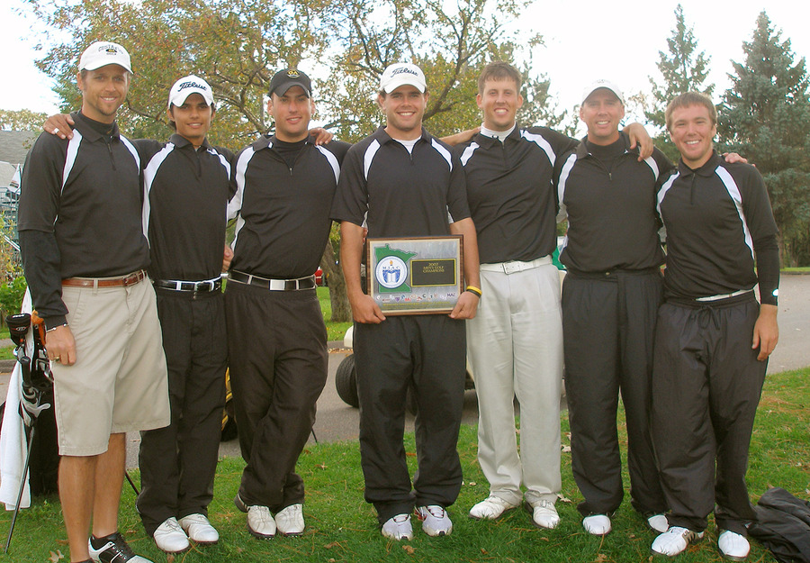 The 2007 MIAC Men's Golf Champions (Moe, Sandhu, Harris, Rohlfs, M. Stuckey, R. Stuckey, Hawkinson)