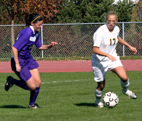 Alison Ditmer starts the counter attack for the Gusties.