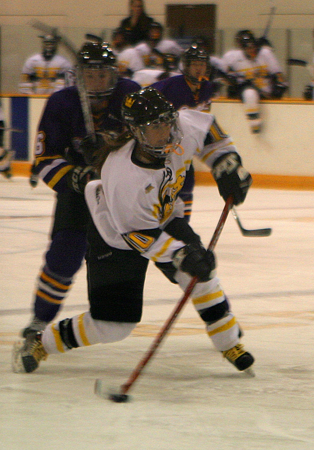 Alyssa Saunders shoots one of Gustavus' 35 shots on goal.