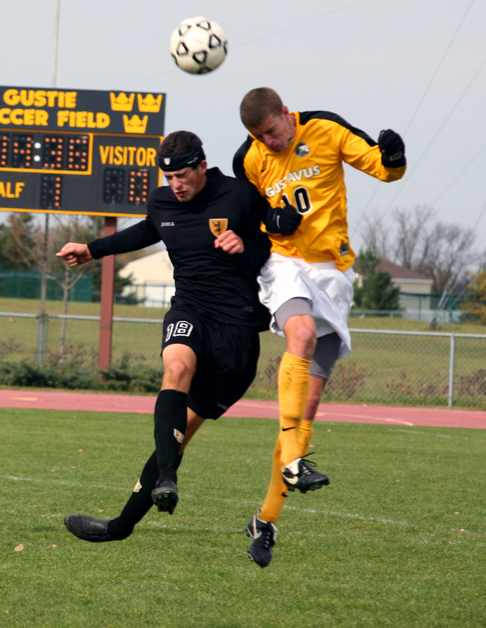 Junior Flynn Stewart-Franzen (in gold) leads the Gustie defense as the center back.