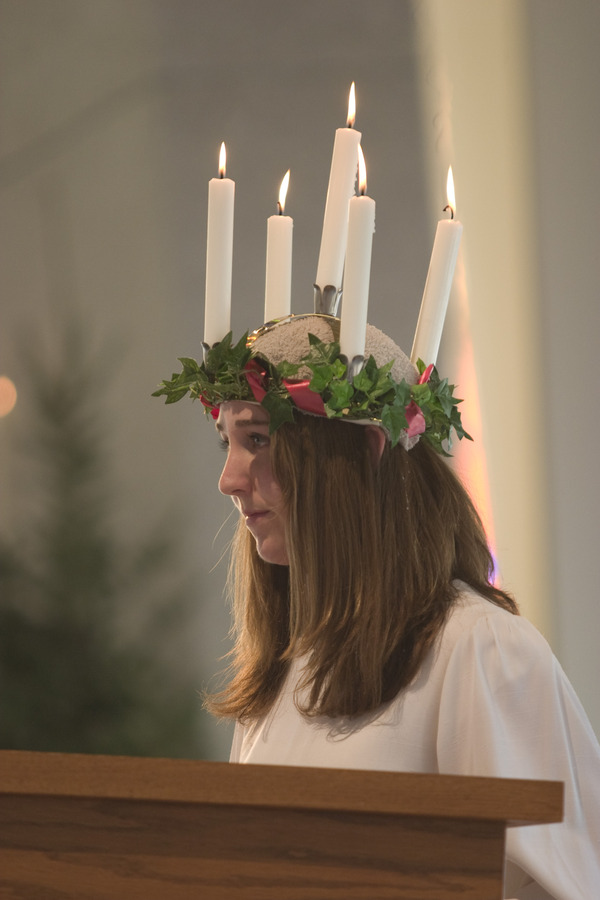 St. Lucia's crown traditionally features lighted candles.