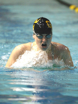 Anika Erickson was one of three double winners for the Gustavus women's team.