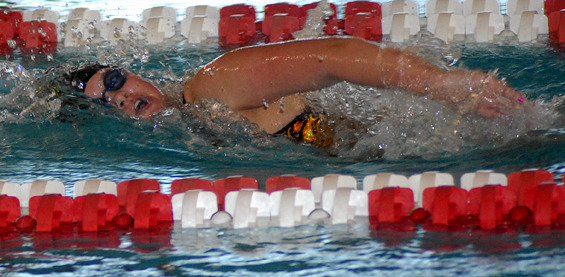 Carrie Gundersen was one of three top five finishers for the women's swim team.