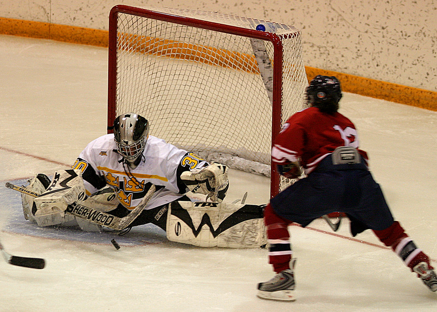 Niki Laferriere makes a save during the third period.