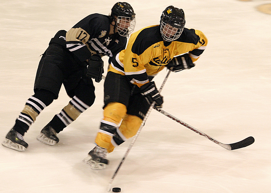 Spencer Campion of Gustavus skates past Bryan Osmundson of St. Olaf.