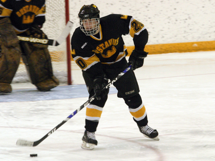 Mitch Carlson starts the puck up the ice for the Gusties.