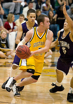 Tyler Kaus scored a season high 14 points in the Gusties win over St. Thomas on Saturday.