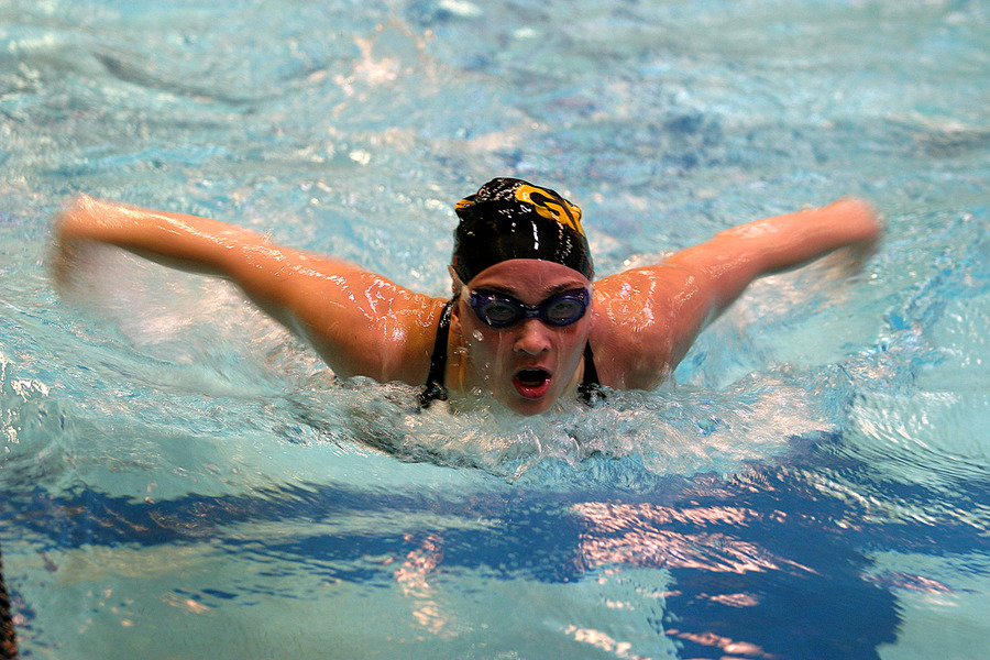 A butterfly swimmer looks towards the finish.