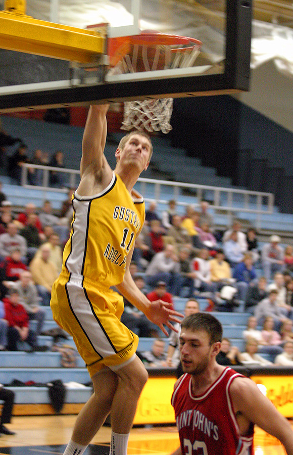 Trevor Wittwer throws down a dunk in the second half.