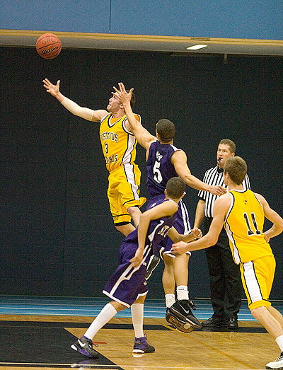 Tyler Kaus made a layup with one second remaining to lead Gustavus to a 59-58 win over the Tommies in mid-January.