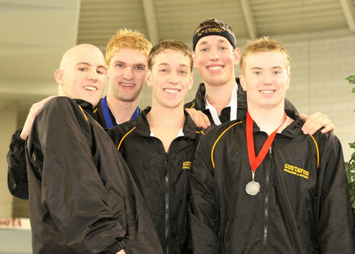 Five Gusties finished in the top six of the 500 freestyle.  (Photo Courtesy of Ryan Coleman, d3sports.com)