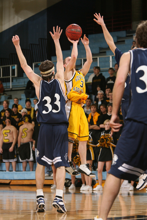 Tyler Kaus hits a clutch three with :13 left to pull the Gusties within three points. (Bridget Fowler photo)