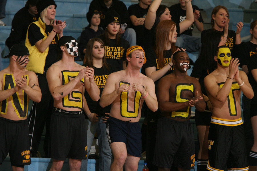 A boisterous student crowd cheered the Gusties to victory. (Bridget Fowler photo)