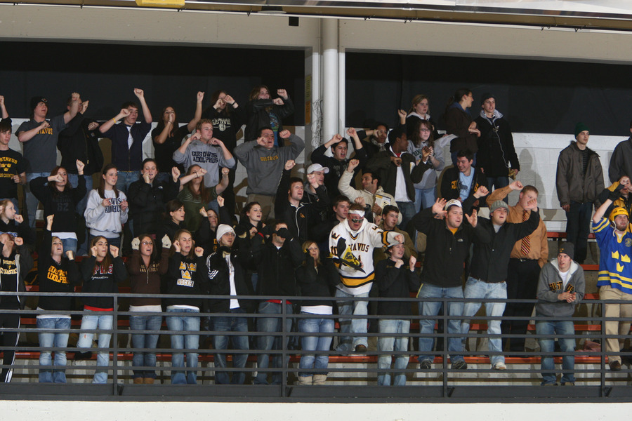 An enthusiastic crowd cheered a Gustie goal in the first period. (Brian Fowler photo)