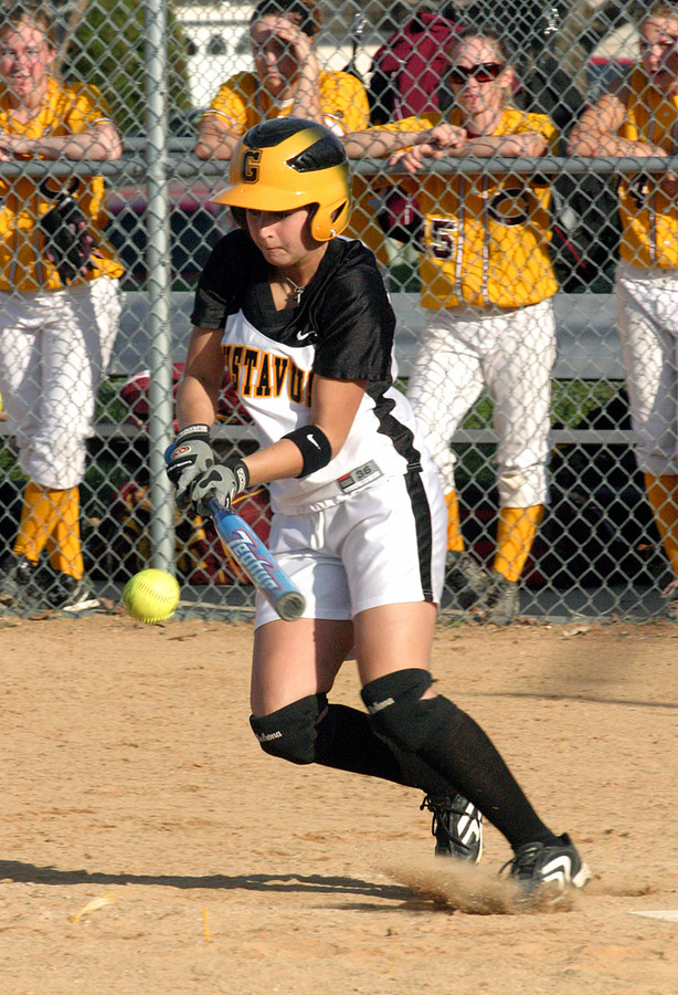 A Gustie batter lays down a drag bunt.