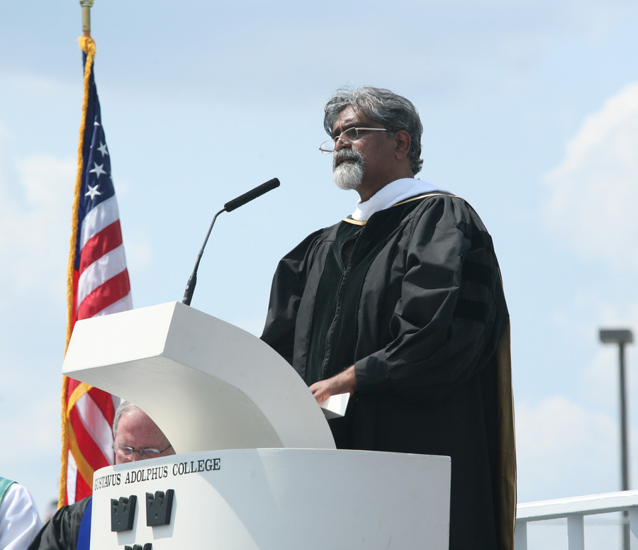 David Ravinder Selveraj speaks after being given an honorary degree at Sunday's commencement exercises.
