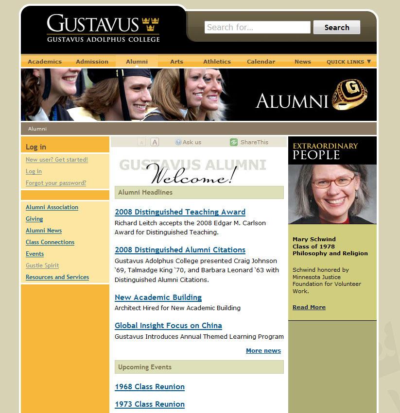 Check out the new alumni website at gustavus.edu/alumni