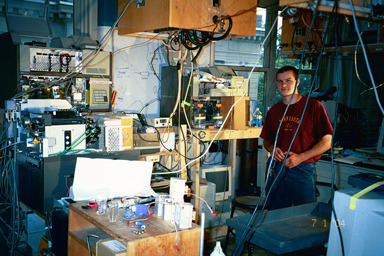 Dwight Stoll doing work in his laboratory.