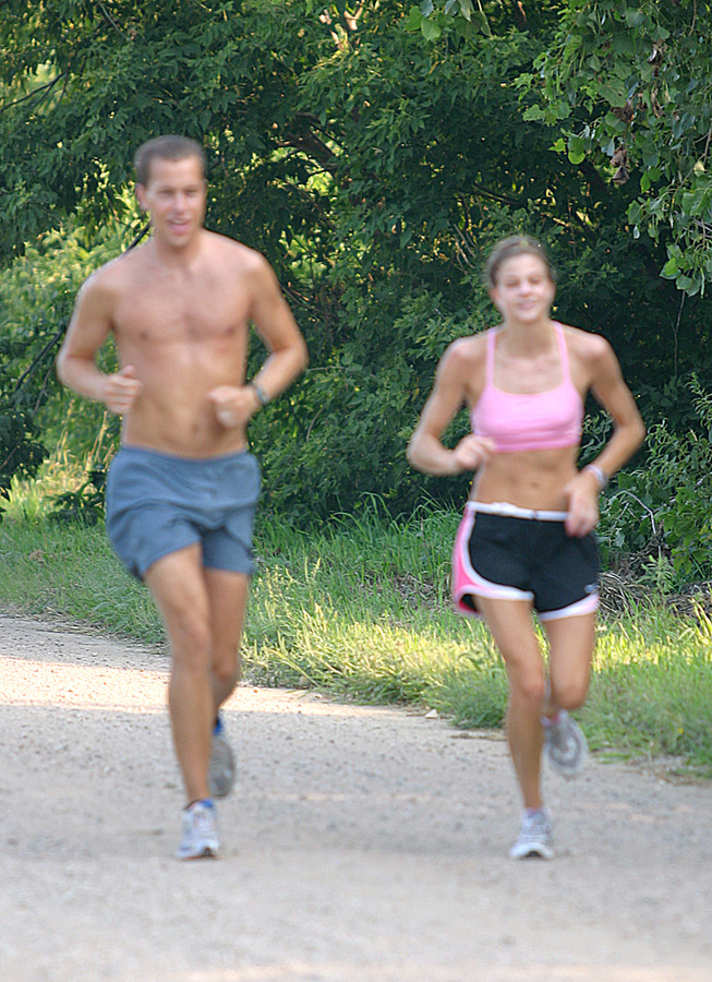 Head Coach Jed Friedrich trains with Megan Lundgren.