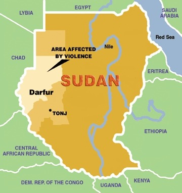 Darfur is located in the West-Central part of Sudan.